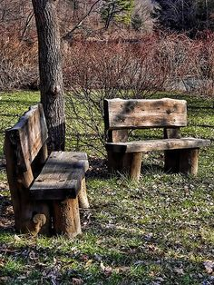 I love these rugged outdoor benches - I could do this... with a little help from a friend!