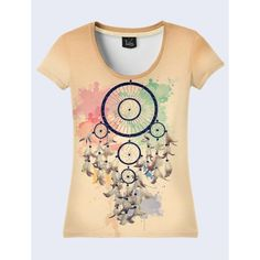 Magic Dream Catcher Women T-Shirt. (95 BRL) ❤ liked on Polyvore featuring tops, t-shirts, black, women's clothing, black top, black tee, black t shirt, layered tops and layering tees