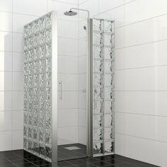 Brick Bathroom, Laundry Room Bathroom, Bathroom Design Small, Bathroom Interior Design, Glass Block Shower, Glass Blocks Wall, Small Shower Room, Tiny Bathrooms, Bathroom Organisation