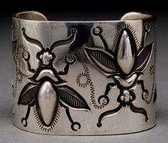 Navajo silver pictorial cuff bracelet  by McKee Platero, circa 1990's