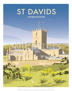 size: Giclee Print: St Davids - Dave Thompson Contemporary Travel Print by Dave Thompson : Entertainment This exceptional art print was made using a sophisticated giclée printing process, which deliver pure, rich color and remarkable detail. Portsmouth, British Travel, Railway Posters, England, Vintage Travel Posters, Poster Vintage, Art Deco Design, Cool Posters, That Way