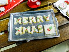 Christmas Cookies on Baking Sheet 'MERRY XMAS' by ParisMiniatures