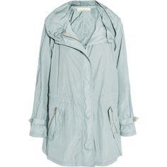 Donna Karan Shell parka ($765) ❤ liked on Polyvore featuring outerwear, coats, jackets, coats & jackets, gray green, hooded parka coat, donna karan, green coat, green hooded coat and shell coat