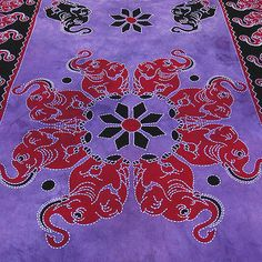 Twin Indian Elephant Bedspread Tapestry Coverlet Wall Hanging Ethnic Vintage Art | eBay