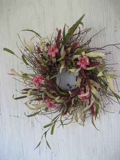 Rustic Wreath with Pink Posies and Magenta