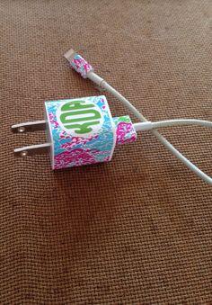 Lilly pulitzer monogram cell phone charger wrap set by monogramstl наклейки Cricut Vinyl, Vinyl Decals, Ipod, Diy Simple, Gadgets, Charger Holder, Monogram Stickers, Samsung, Diy Phone Case