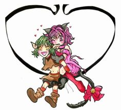 neko-productions:  Kish and Ichigo in colors by ~neko-productions Watercolors.Tokyo Mew Mew fanart.