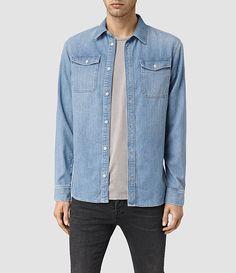 Men's Larcaf Denim Shirt (LIGHT INDIGO BLUE) -