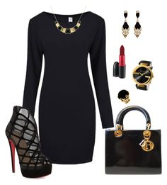 """""""Black/Gold Glam"""" by spycred1 on Polyvore featuring Givenchy, Christian Louboutin, Monet, Valentin Magro, Gucci, MAC Cosmetics, John Galliano, women's clothing, women's fashion and women"""
