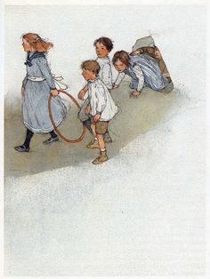 """from 1984 Illustrations for Oscar Wilde's """"The Selfish Giant"""" - One day, the giant is awakened to discover that the children have found a way to sneak in through a hole in the wall - by Lisbeth Zwerger (b. 1954), Austrian (pasalavida)"""