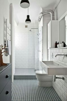 Browse modern bathroom ideas images to bathroom remodel, bathroom tile ideas, bathroom vanity, bathroom inspiration for your bathrooms ideas and bathroom design Read Bathroom Renos, Laundry In Bathroom, White Bathroom, Bathroom Flooring, Bathroom Interior, Wood Flooring, White Shower, Bathroom Ideas, Master Bathroom