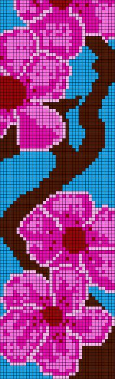 Cherry Blossom Alpha Friendship Bracelet Pattern #18803 - BraceletBook.com