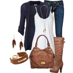 Black & White with Brown Leather Accessories