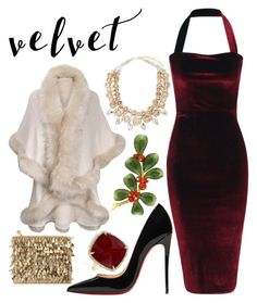 """""""a very velvet christmas"""" by sami-kowan ❤ liked on Polyvore featuring Christian Louboutin, Saks Fifth Avenue, Forest of Chintz and Anne Sisteron"""