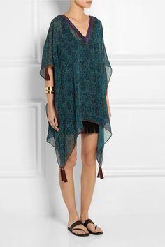Talitha | Pia embroidered silk-georgette poncho top | NET-A-PORTER.COM