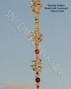 Spectral Chakra Strand with Swarovski 100mm Point Hanging Crystal Suncatcher II www.spectralpeacock.com