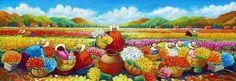 Pintura Moderna y Fotografía Artística : Cuadros con Espatula de Peruanas Campesinas