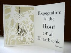"Artist Book ""Expectations"" 2012 Julie Friedman ""This boxlike book form encloses an actual root with a hand cut stenciled image of the same root layered in front. The quote by Shakespeare is part of my exploration of the ideas of what the word root can mean."""