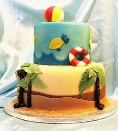 two tier fondant beach cake