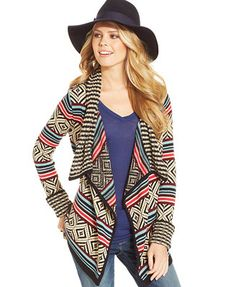American Rag Patterned Draped Cardigan black turquoise multi acrylic nylon  49.99 Sale thru a6d960046f50