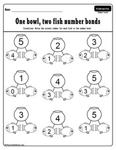 One fish two fish - Fun Dr. Seuss math activities for kindergarten. Free printable number bonds and decomposing numbers to Numbers Kindergarten, Learning Numbers, Math Numbers, Decomposing Numbers, Number Bonds Worksheets, Number Bonds To 10, 1st Grade Math Worksheets, Free Printable Numbers, Printable Worksheets