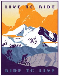 retro vintage mountain bike illustration poster print 11X14 live to ride, #ride to live