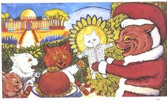 Katzenweihnacht [Cat's Christmas], United Kingdom, year unknown, by Louis Wain.