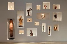 Niche - like a lighted wall or cabinet to display art items brought from overseas