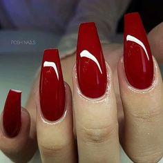Perfect classy red coffin nail set! Beautiful nails by @posh_nails_sara  Ugly Duckling Nails page is dedicated to promoting quality, inspirational nails created by International Nail Artists #nailartaddict #nailswag #nailaholic #nailart #nailsofinstagram #na