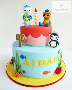 Aidan's 6th birthday cake    Vanilla cake with strawberry jam & vanilla butter cream     The design is based on the cartoon, Octonauts and includes 4 hand-made figurines.    Thanks for watching, xx