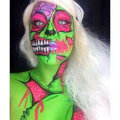 #popartzombie Zombie Face Paint, Pop Art Zombie, Zombie Walk, Zombie Girl, Show Makeup, Pop Art Makeup, Face Paint Makeup, Zombie Makeup, Scary Makeup