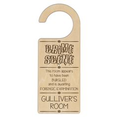 When your teen's room can fairly be described as disaster zone this fun door hanger light-heartedly warns of the dangers within.  Door Hangers are made of laser quality ply wood and hand finished in the stain / lacquer combineation of your choice. Choose from clear lacquer, maple, walnut and jarrah finishes. Product Dimensions in mm 235 (L) 90(W) 3(H) Stocking Stuffers For Teenagers, Ply Wood, Maple Walnut, Door Hangers, Crime, It Is Finished, Scene, Australia, Doors