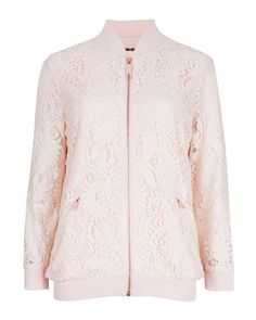 Lace bomber jacket - Nude Pink | Jackets & Coats | Ted Baker UK