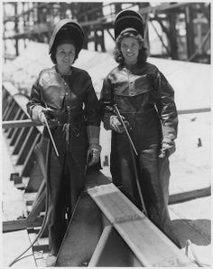 5/21/14 - Seventy one years ago this week, two pioneering women workers at Mare Island Navy Yard made both history and the first weld on the keel of a United States battleship. The historic keel laying ceremony of the USS CROWLEY on May 24, 1943, this was the first time women at Mare Island, or any other naval shipyard nationwidem had been accorded such an honor. Their names were Alyce Rudd Sawyers and Juanita Dayvolt. Photo courtesy of The National Archives and Records Administration