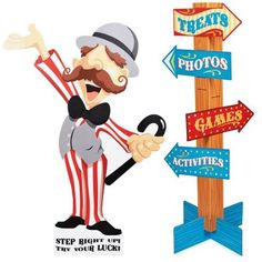 Carnival Man with Direction Sign. Birthday decor. Birthday express
