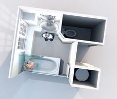 Aménagement d'une salle de bain et de toilettes - Perspective vue de dessus réalisée avec le logiciel Sweet Home 3D de l'idée n°2 Floating Nightstand, Perspective, Sweet Home, Architecture, Furniture, Home Decor, Software, Toilets, Bath