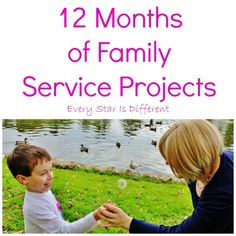 Love these ideas for families to serve together! Every Star Is Different: 12 Months of Family Service Projects {Great ideas to keep your family serving others all year long! Service Projects For Kids, Community Service Projects, Service Club, Service Ideas, Lds, Kindness Activities, Scout Activities, Family Activities, Mission Projects