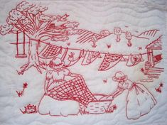 redwork embroidery | Then, she hand-stitched four reverse-applique blocks for the corners ...