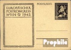 German Empire P295a Official Postcard unused 1942 Postal Congress