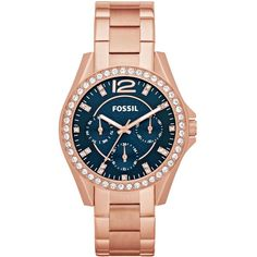 Fossil Watch, Women's Riley Rose Gold-Tone Stainless Steel Bracelet 38mm ES3341 $135