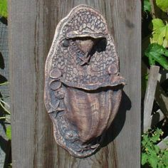 Items similar to Ocean Spirit - Fancy Wall Planter - Two pockets - White Clay - Seashells, Starfish, Barnacles, Silver Buttons on Etsy Hand Built Pottery, Slab Pottery, Pottery Vase, Ceramic Pottery, Vintage Planters, Ceramic Planters, Wall Planters, Wall Plant Holder, Paper Clay Art