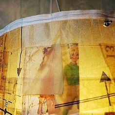Upcycled Lampshade made from sewing patterns