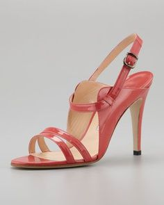 Manolo Blahnik Dodo Double-Band Patent Sandal - this would go great with my coral and gray outfit
