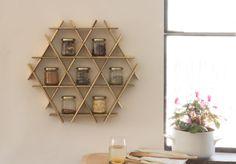 Wall Spice Rack Kitchen Shelves Spice Holder Jar by RucheShelving
