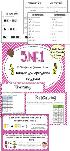 5 NF.1 Math tasks, exit tickets, I can statements! Quickly assess your students on what they know!  #commoncore #mathtasks #exittickets #mathcenters