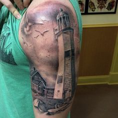 Another gorgeous lighthouse tattoo by @eddiestacey