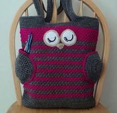 Ravelry: Owl Tote Bag pattern by Karla Sandoval Bag Crochet, Crochet Shell Stitch, Crochet Handbags, Crochet Purses, Love Crochet, Crochet Crafts, Crochet Hooks, Yarn Projects, Knitting Projects