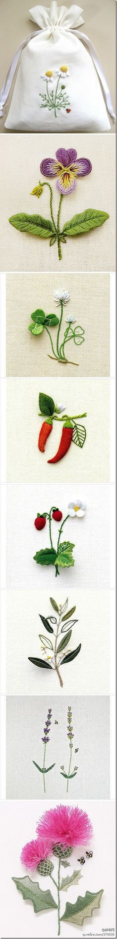 Lovely stumpwork. #embroidery #stumpwork diy embroidery inspiration - little plants and flowers