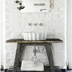 Elle Deco - bathrooms - reclaimed wood washstand, salvaged wood washstand sink, rustic sink, rustic washstand sink, vessel sink, fluted vess...