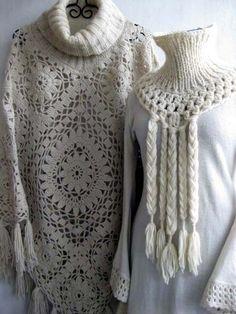 VMSomⒶ KOPPA: virkattu KUKKA - ohje  the poncho is cute the odd turtle neck dress thing I'm not all about.